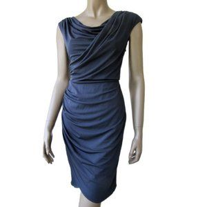Maggy London Navy Blue Draping Dress Size 10